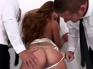 Two employees abusing their Boss by anal fisting