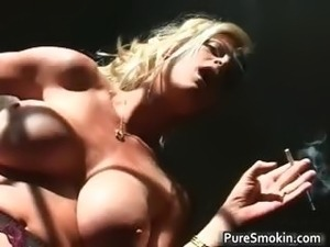 Naked blond chick smokes cigar with her part6