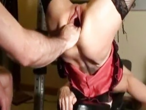 Brutally fisting Rachels gaping pussy