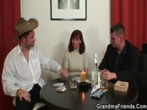 Poker-playing granny gets fucked by two guys free