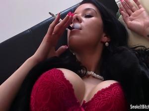 Big breasted Adrianne smokes