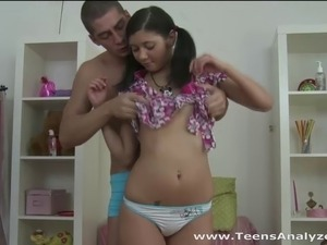 Look at this sweet and innocent teeny with cute ponytails getting assfucked...