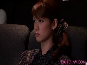 Asian teen pornstar Nina wanks guy in cinema free