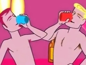 Gay cartoon Boys Having A Gangbang Party