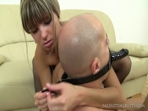 Facesitting On A Male With A Head Strapon Dildo free