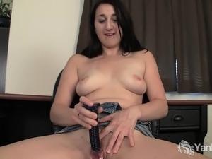 Sexy brunette amateur girl Samara toying her delicious muff upskirt