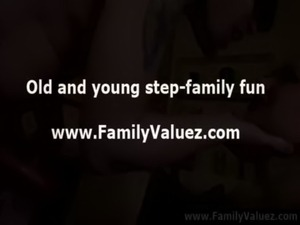 Blonde milf stepmother sucks young cock in family play free
