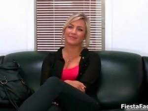 Cute blonde casting girl gets fucked