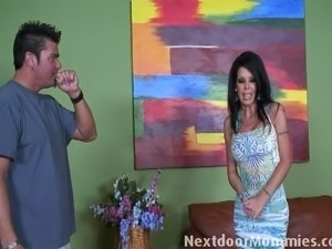 Tabitha gets fucked by the new neighbor on the couch while her husband is at...