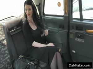 Dark haired babe in black dress banging in fake taxi free