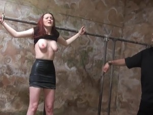 Barn slaves outside domination and harsh breast whipping of submissive Sacha