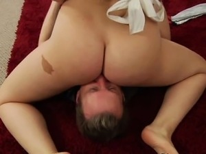 Facesitting brunette drooling on cock