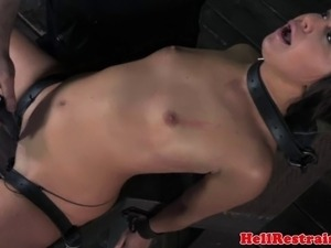 Restrained sub gets dildo treatment