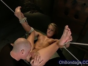 very sexy blonde tied up and slapped