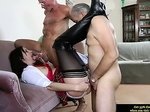 Euro mature in stockings spoils two dicks