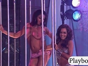 Group of hot babes stripteased on the dance floor