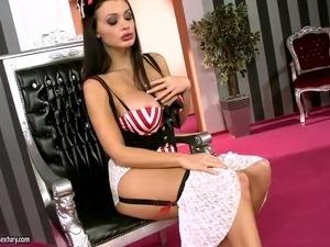 Sinfully sexy dark haired pornstar Aletta Ocean with big boobs