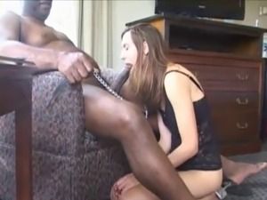 White wife with collar and leash. First time BBC