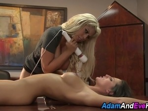 Booted busty lezdomina demands oral from sexy bound slave