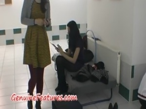 Backstage blow job and striptease by real hottie free