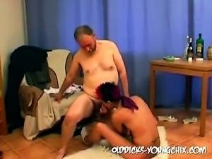 Grandpa cums in girl pussy