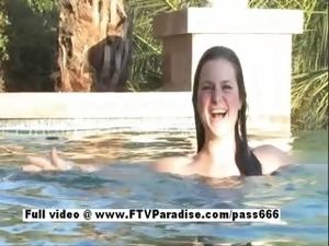 Pepper funny busty babe having fun in the pool