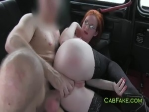 Huge breasts redhead fucked in taxi free