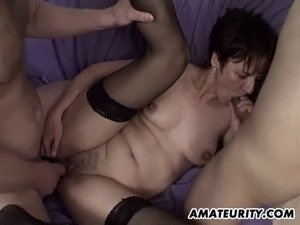 A naughty amateur brunette girlfriend enjoys different cocks at once and...