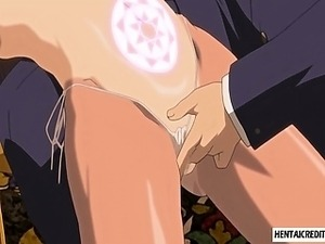 Caught hentai girl gets her pussy and tight ass fingered