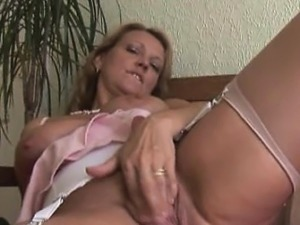 Busty blonde Milf in stockings upskirt tease