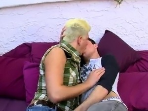 Hot twink After swapping blow-jobs, the dudes engage in hot,