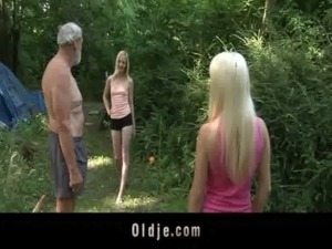 Two horny teens is fucking the old woodcutter free