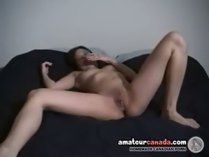 Geeky asian GF wearing glasses fingering wet pussy laughing