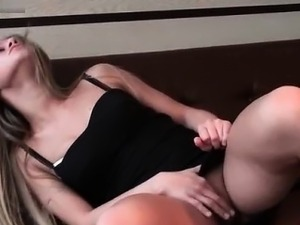 Cute blonde babe gets horny talking part2