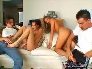 Two girls, two boys, hard cocks, wet pussy, doing what's natural