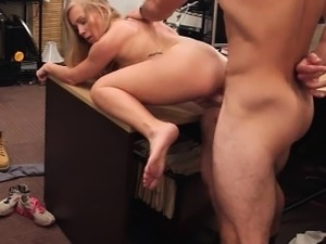 Lustful blonde bimbo sells herself for a fuck on tape