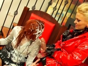 Strapon loving Gay women squirted beside jizz