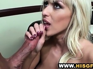 Hot Office Blonde Blows Her Hung BF