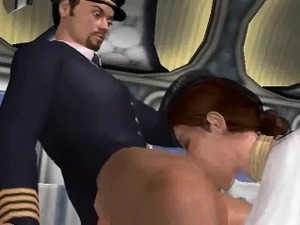 3D stewardess sucking cock and getting eaten out
