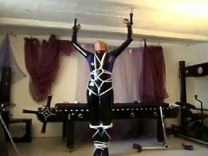 Horny girl in super sexy latex outfit getting tied up and tortured