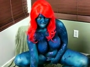 Masturbating Red Haired Superhero Cosplay
