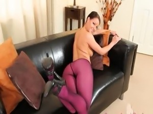 Purple nylon pantyhose on adorable babe