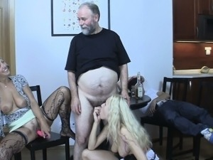 Old mom seduces his new girl into family sex