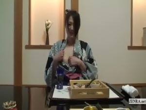 Subtitled uncensored shy Japanese milf in yukata in POV free