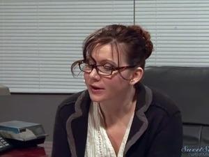 Good looking brunette teacher Nica Noelle with big juicy hooters