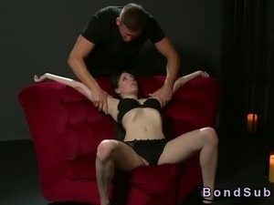 Natural big boobs and hairy pussy brunette sub in black lingerie gets her...