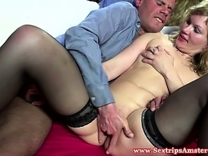 Blonde dutch hooker tasting his cum