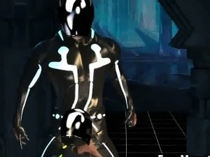 3D cartoon Tron babe sucks cock and gets fucked