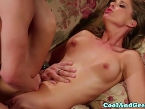 Petite Presley Hart slammed on couch and takes his jizz on body