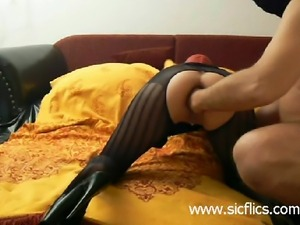 Amateur slave wife has her ass and vagina fist fucked gaped and destroyed by...